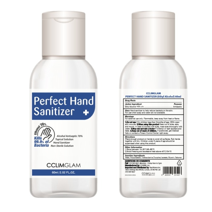 CCLIMGLAM PERFECT HAND SANITIZER [Ethyl Alcohol] 60ml