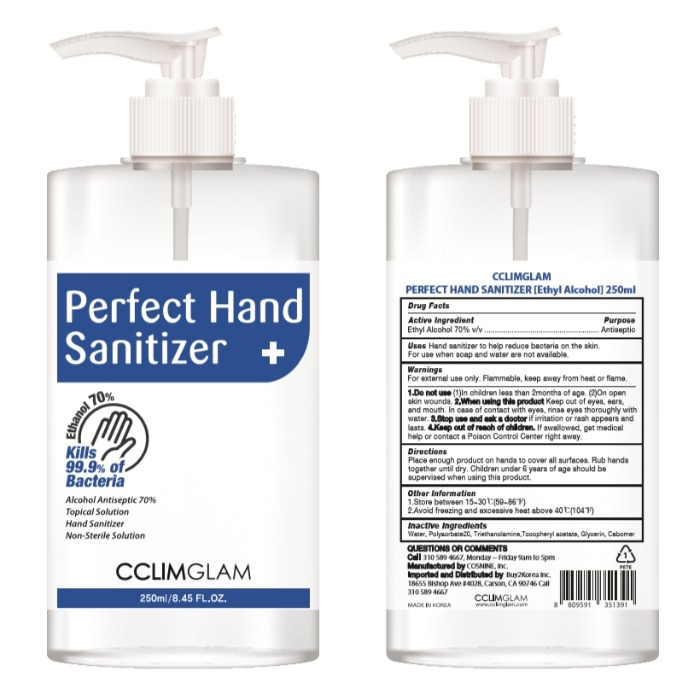 CCLIMGLAM PERFECT HAND SANITIZER [Ethyl Alcohol] 250ml